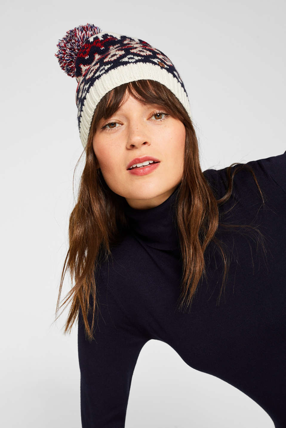 With wool: Beanie with an Xmas motif, OFF WHITE 2, detail image number 2