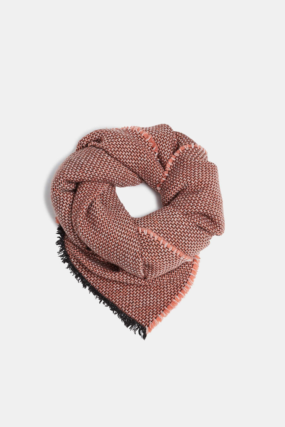 Esprit - With wool: Scarf with a woven pattern