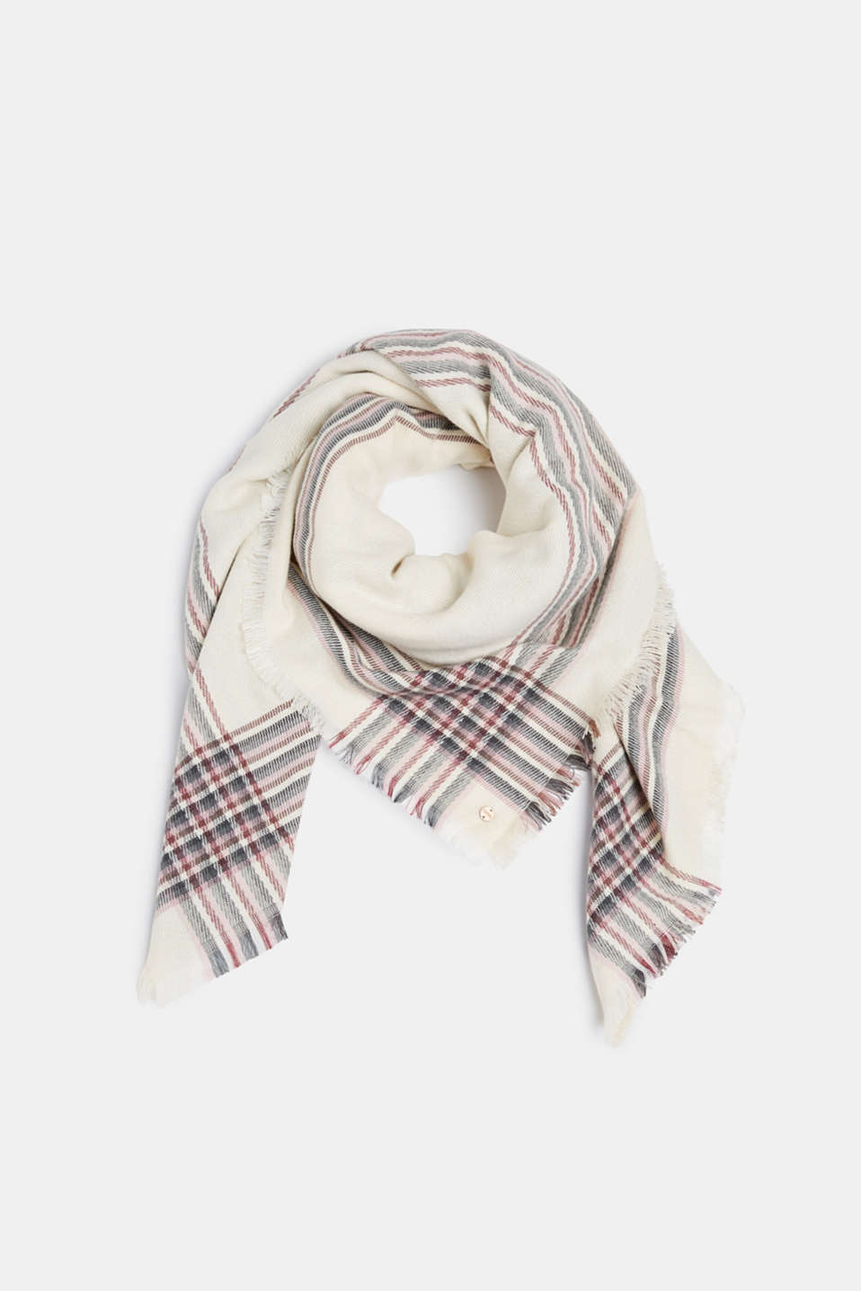 Scarf with striped details, OFF WHITE, detail image number 0