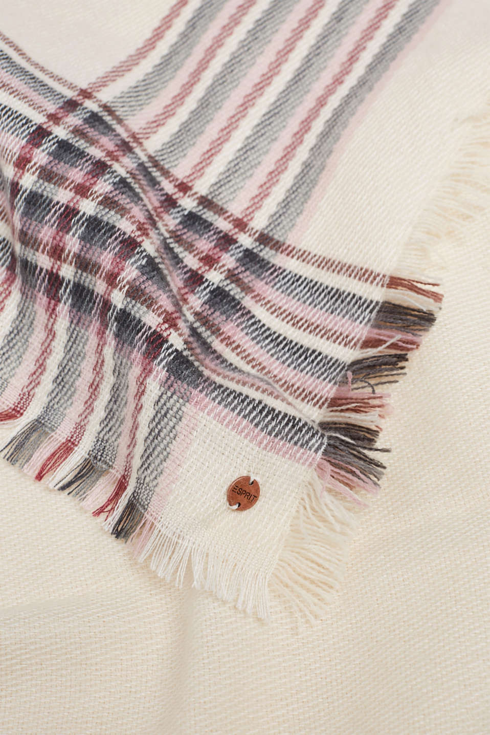 Scarf with striped details, OFF WHITE, detail image number 2