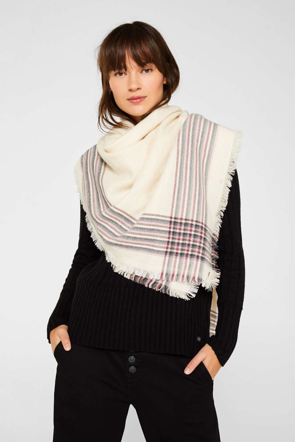 Scarf with striped details, OFF WHITE, detail image number 1