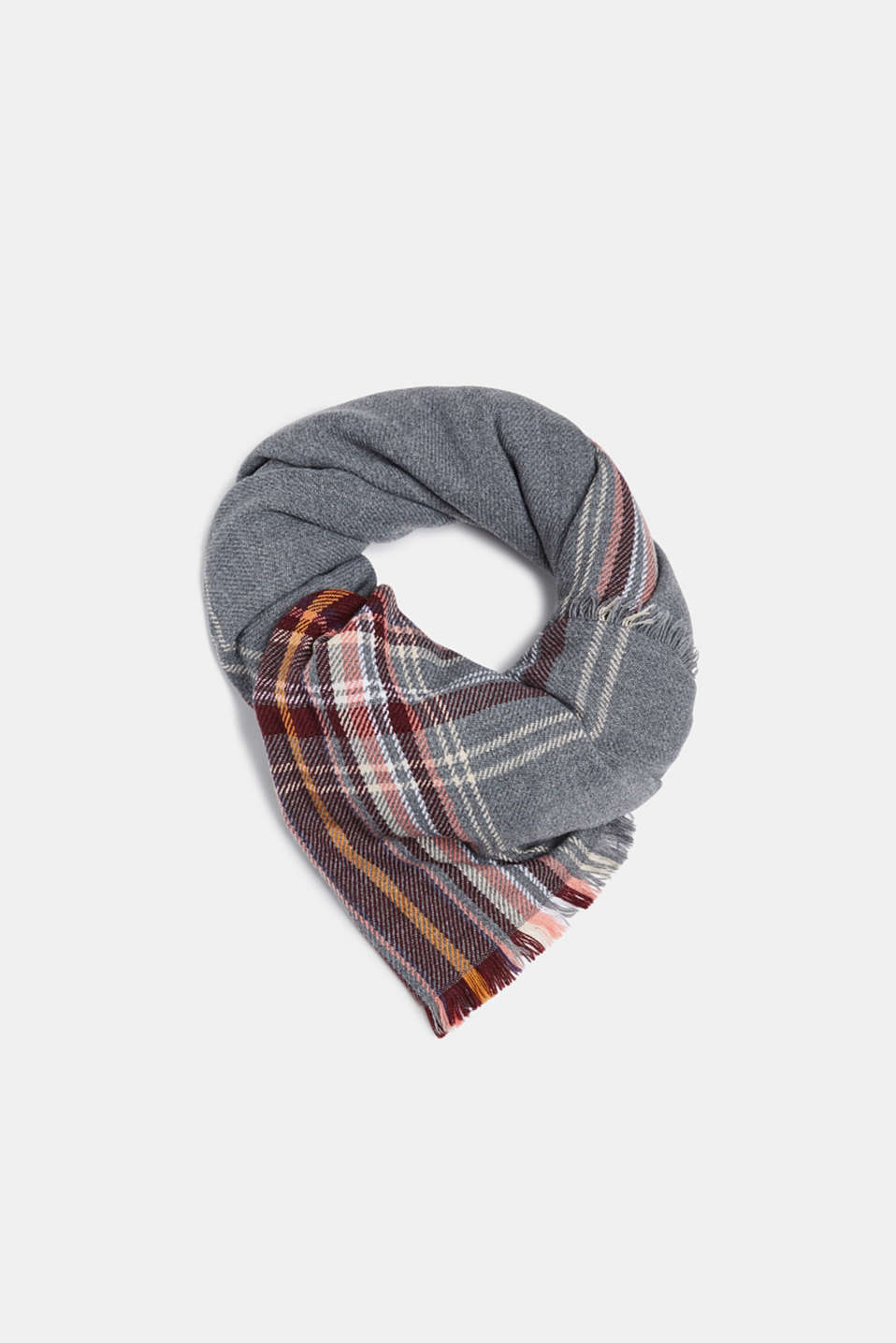 Oversized scarf with a check pattern, GUNMETAL, detail image number 0