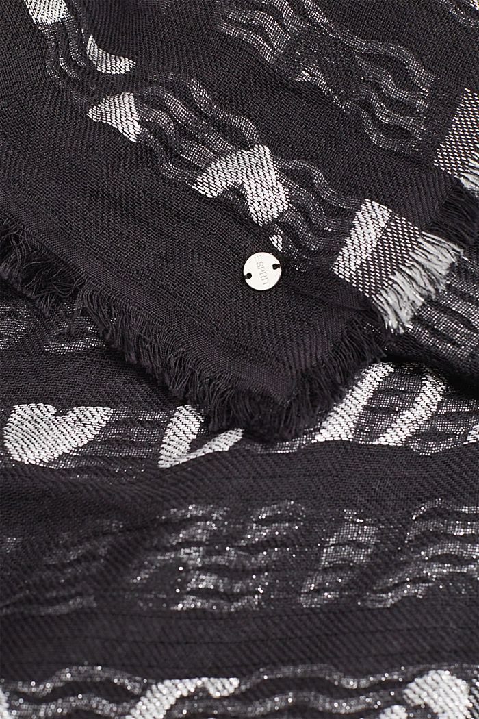 With wool: scarf with a metallic animal print, BLACK, detail image number 2