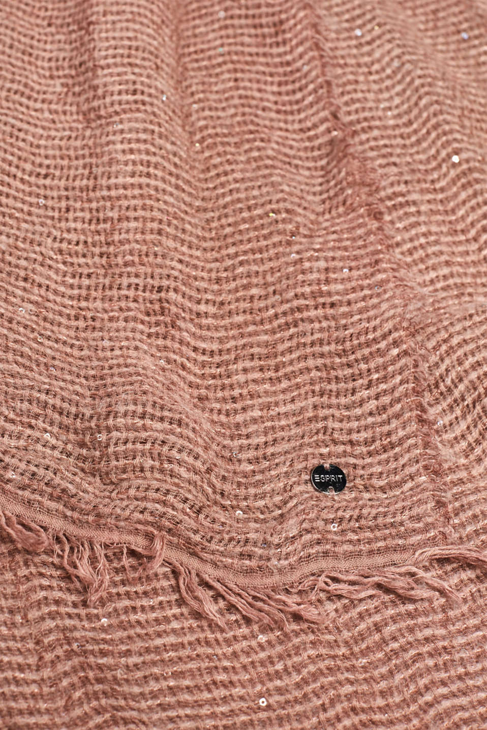 Scarf with sequins, made of Italian yarn, DUSTY NUDE, detail image number 2