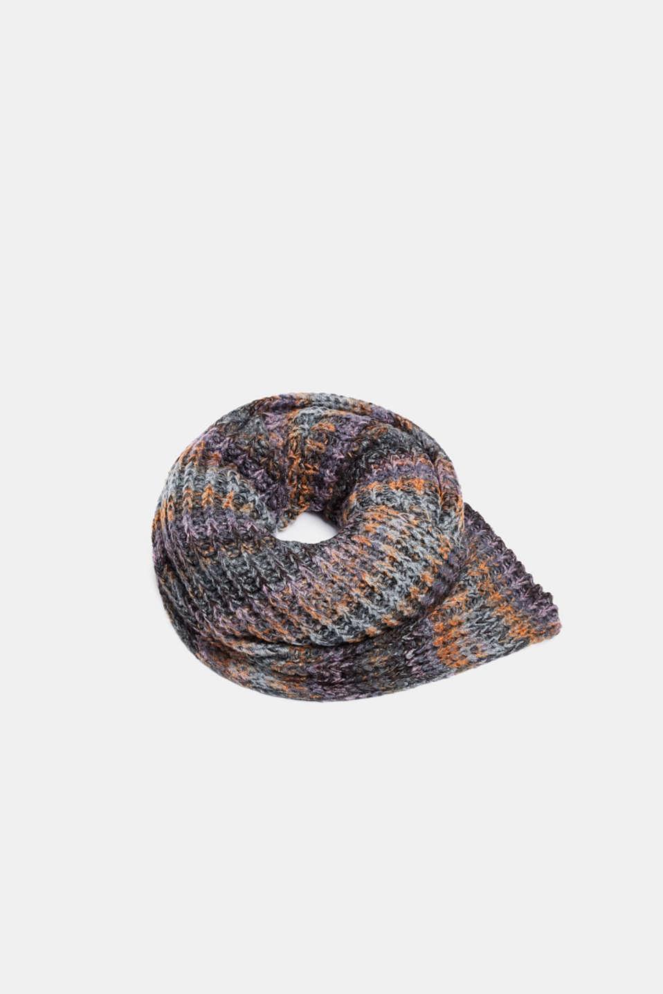 Wool blend: ribbed knit scarf, GREY, detail image number 0