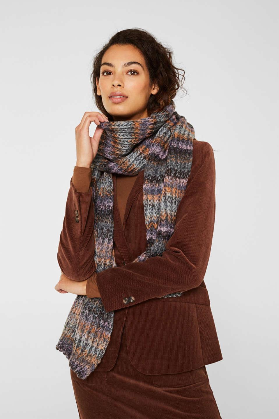 Wool blend: ribbed knit scarf, GREY, detail image number 1