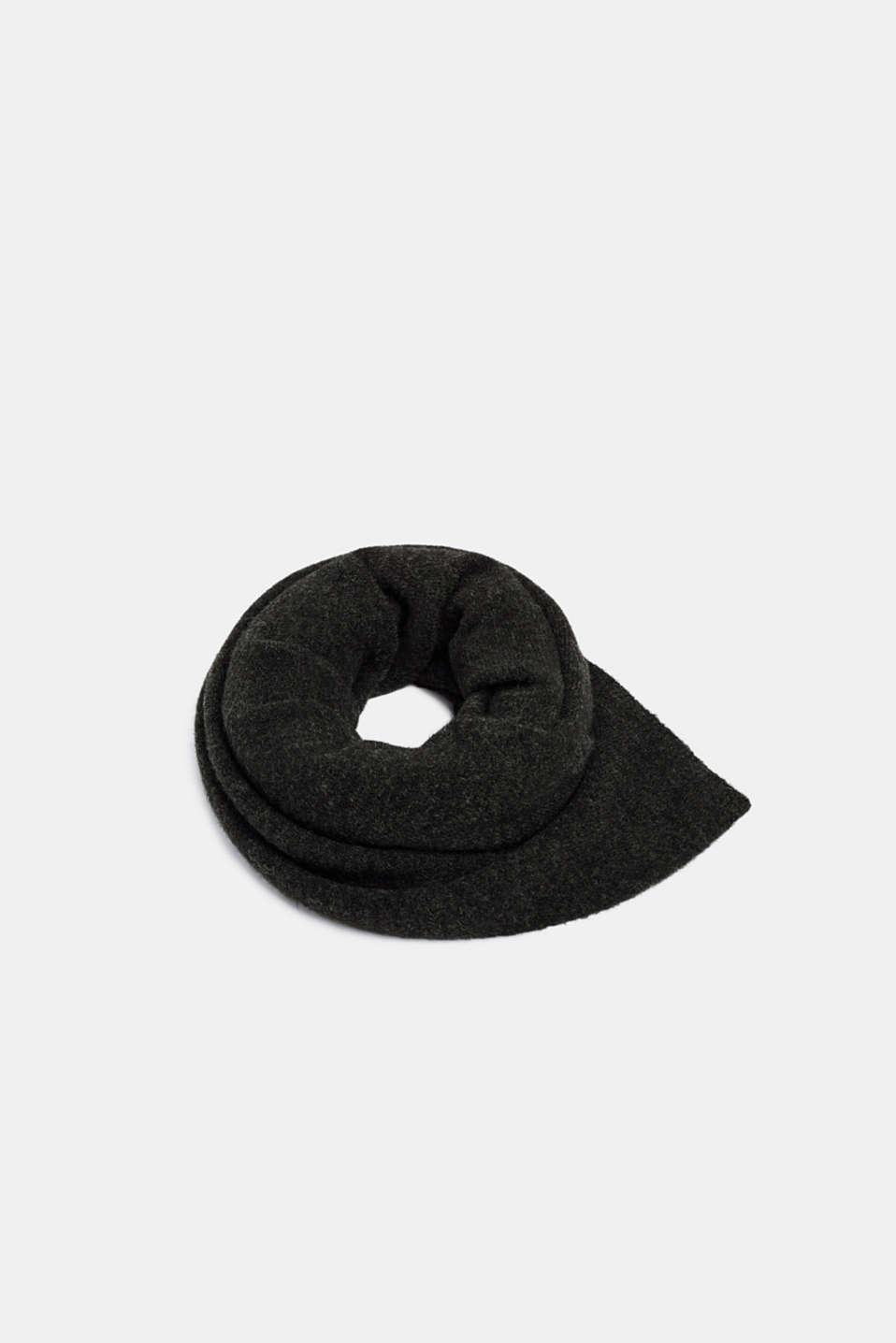With alpaca/wool: melange knit scarf, DARK GREY, detail image number 0