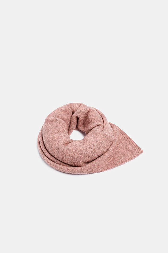 Med alpaka/uld: tørklæde af meleret strik, MAUVE, detail image number 0