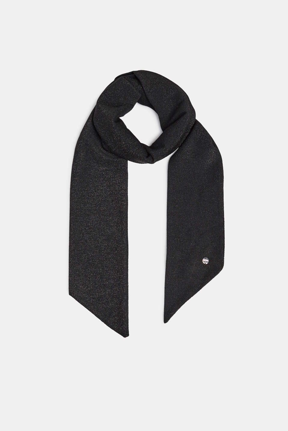 Narrow, glittering scarf, BLACK, detail image number 0