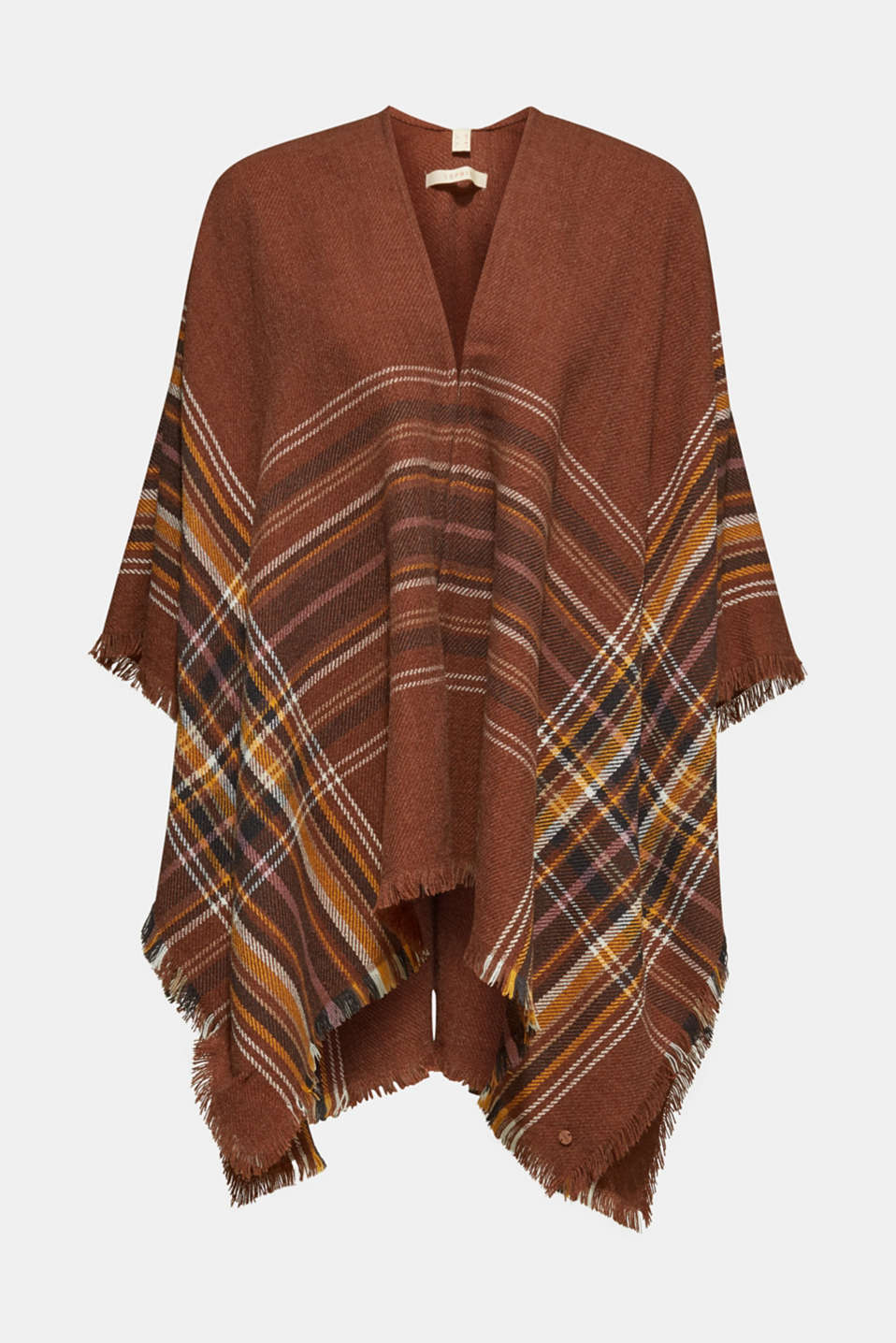 Poncho with a check pattern, RUST BROWN, detail image number 0