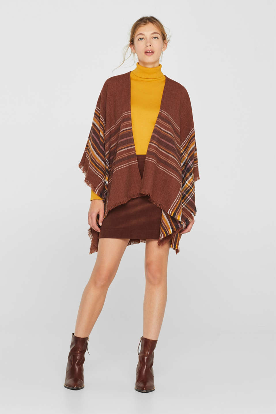Poncho with a check pattern, RUST BROWN, detail image number 1