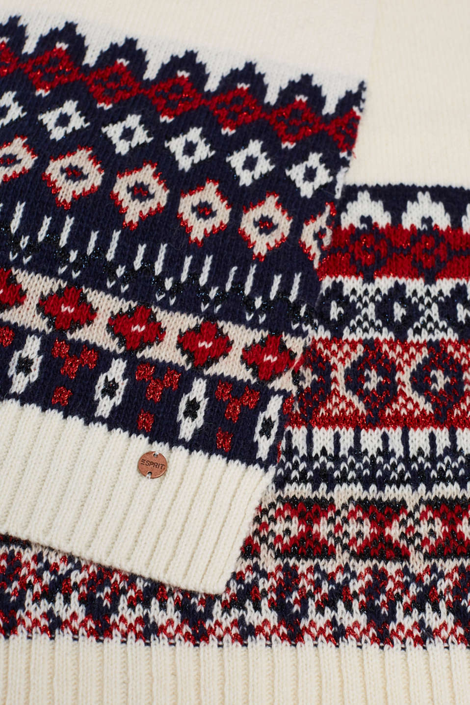 With wool: Scarf with an Xmas motif, OFF WHITE 2, detail image number 2