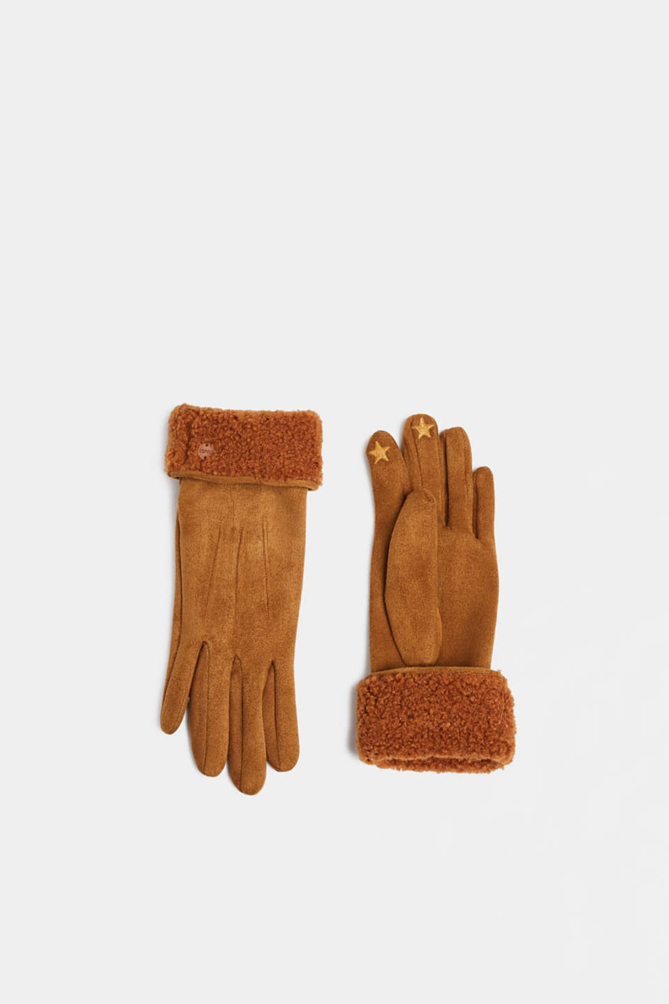 Esprit - Suede gloves with faux fur lining