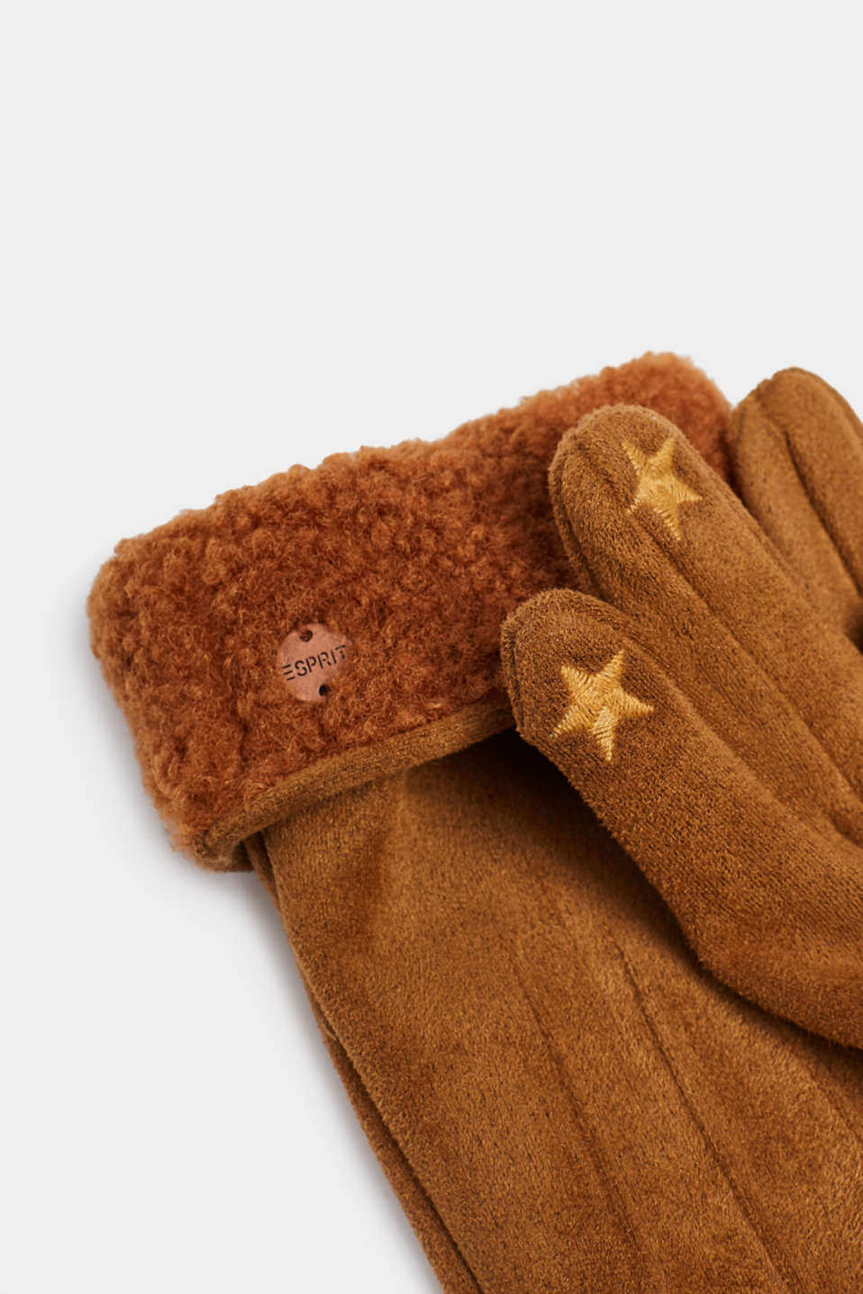 Suede gloves with faux fur lining, RUST BROWN, detail image number 1
