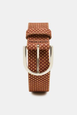 Belt with metallic dots, made of leather, BROWN, detail
