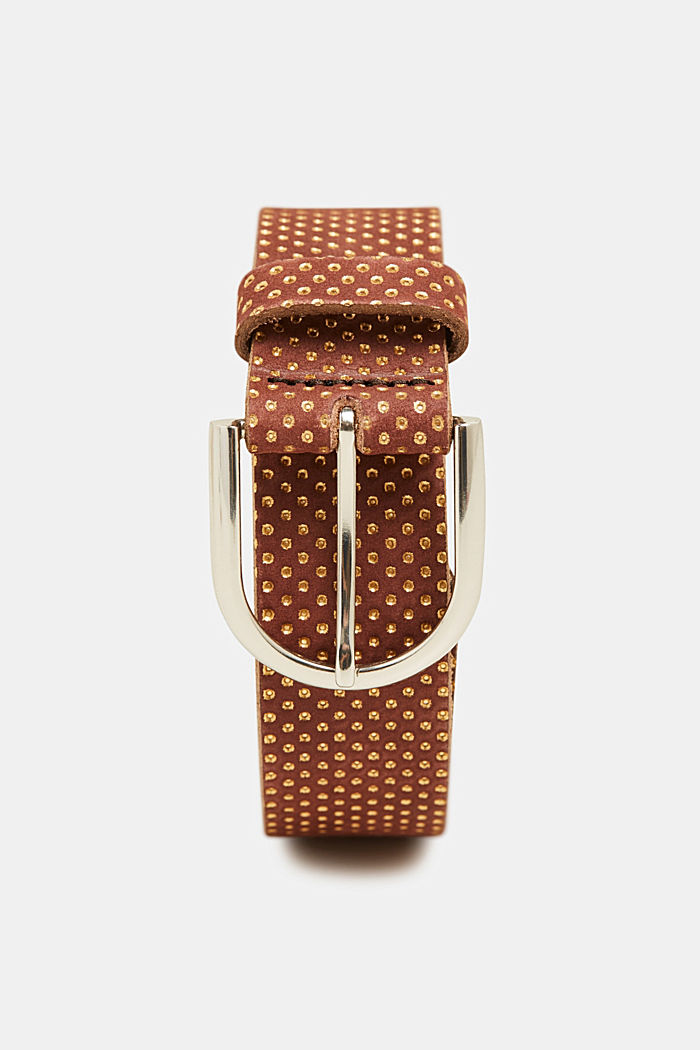 Belt with metallic dots, made of leather, BROWN, detail image number 0