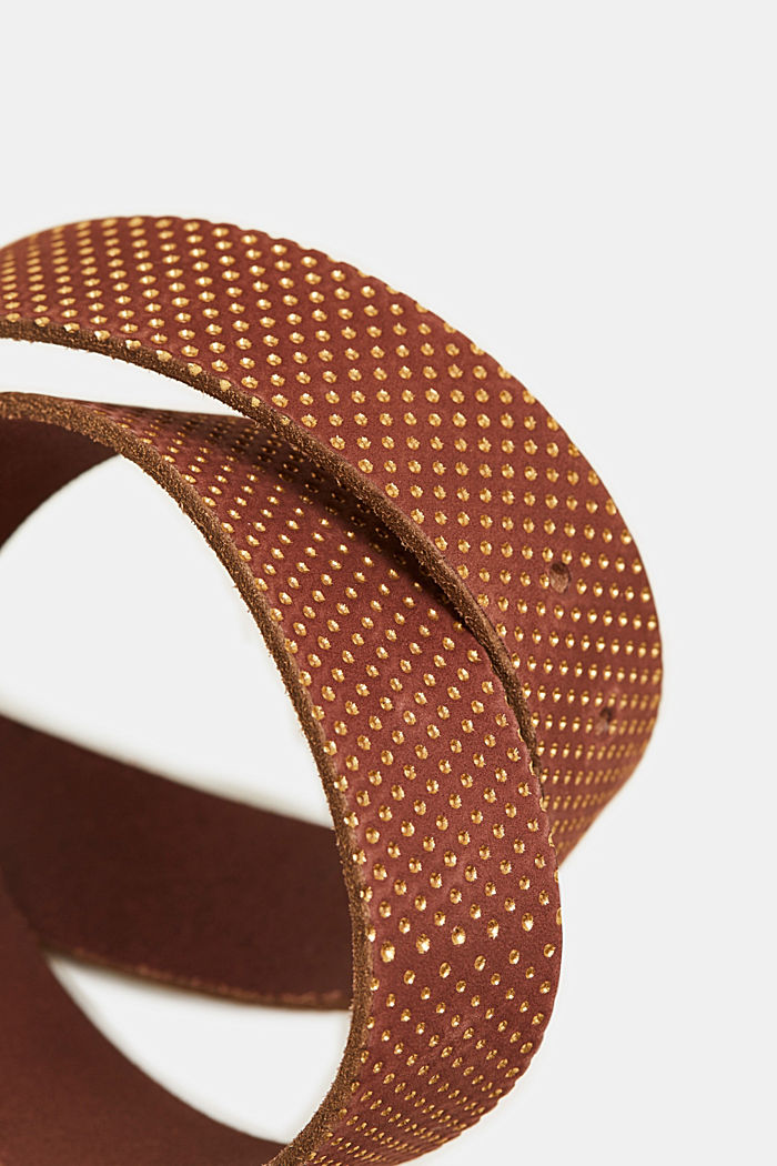 Belt with metallic dots, made of leather, BROWN, detail image number 1