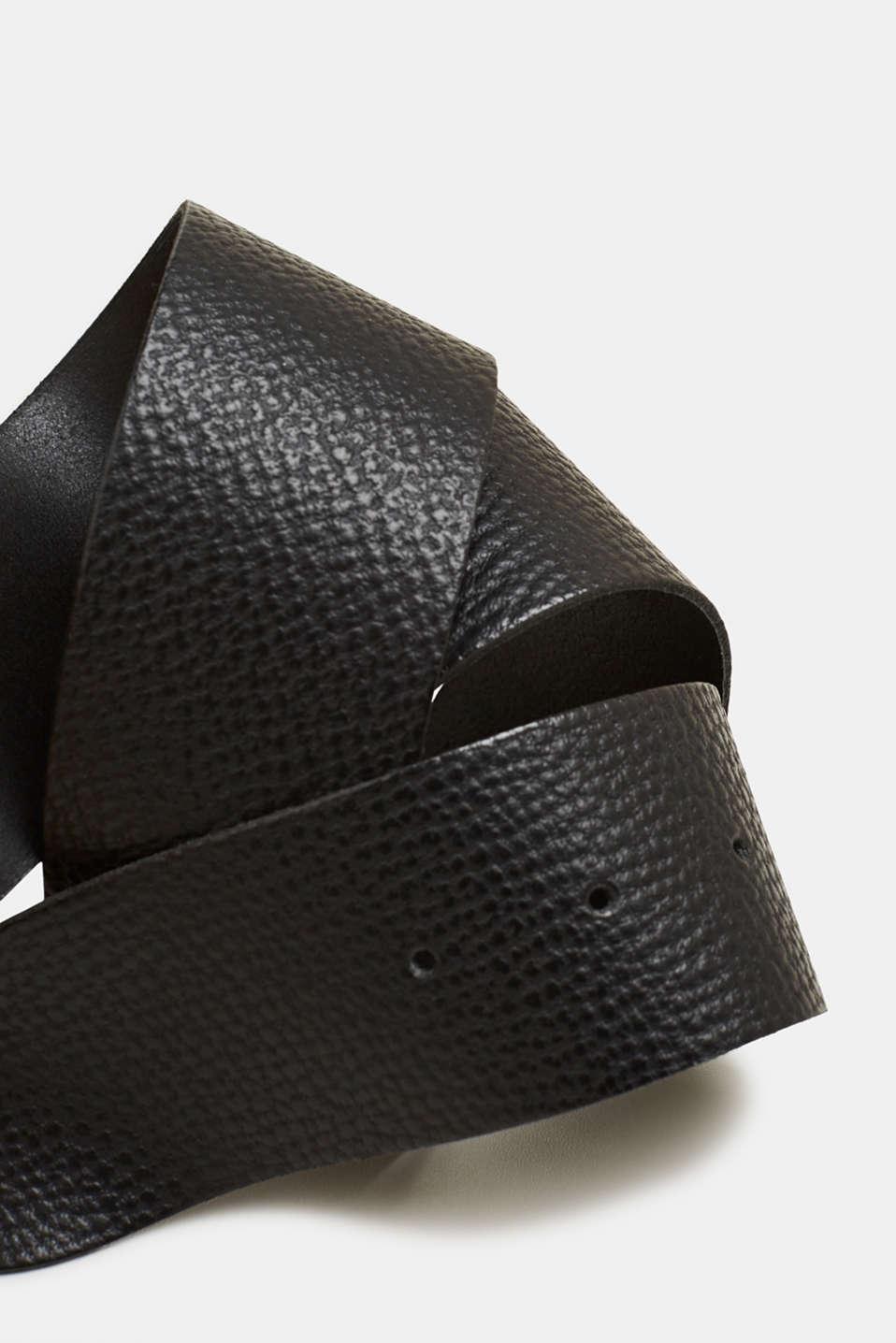 Leather hip belt, BLACK, detail image number 1