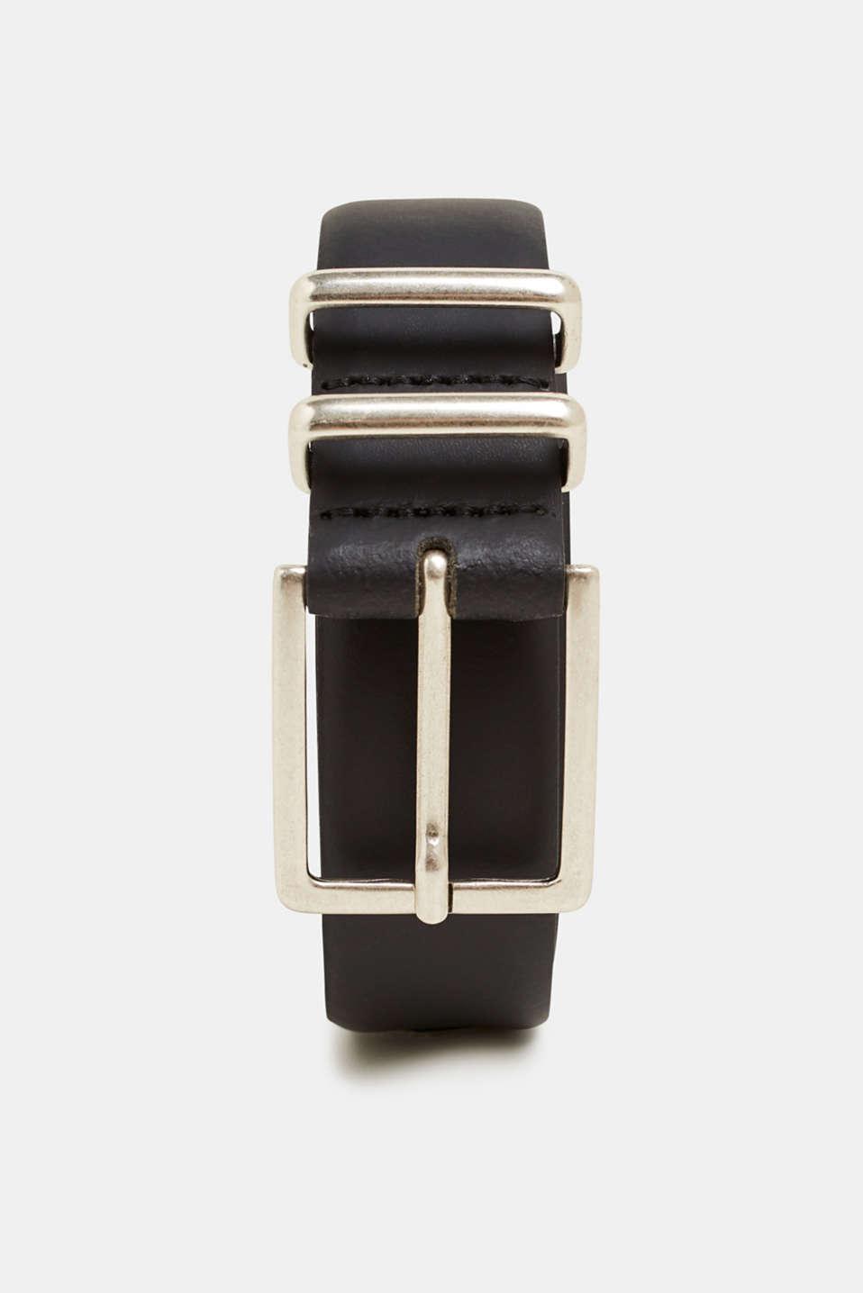 Leather belt, BLACK, detail image number 0