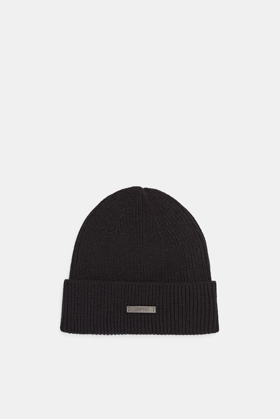 Rib knit beanie, BLACK, detail image number 0