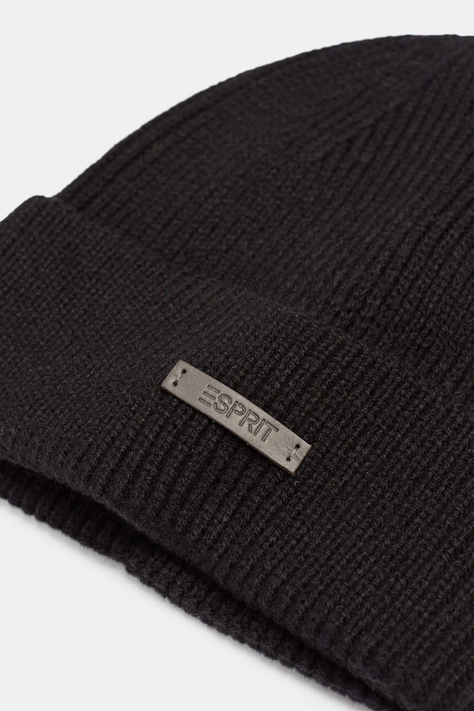 Rib knit beanie, BLACK, detail image number 1