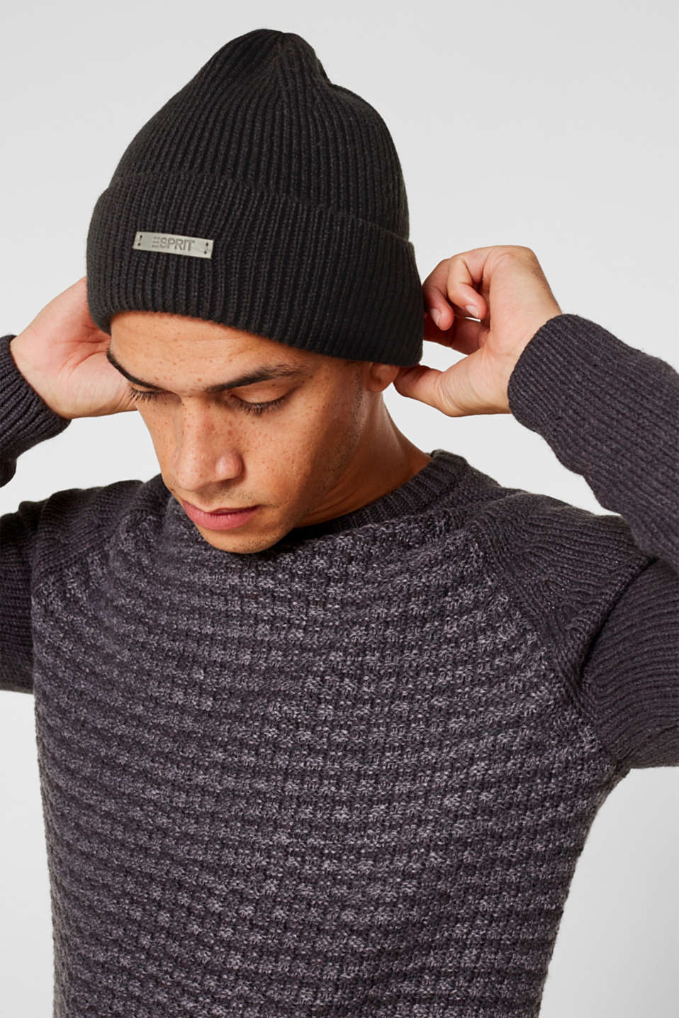 Rib knit beanie, BLACK, detail image number 2