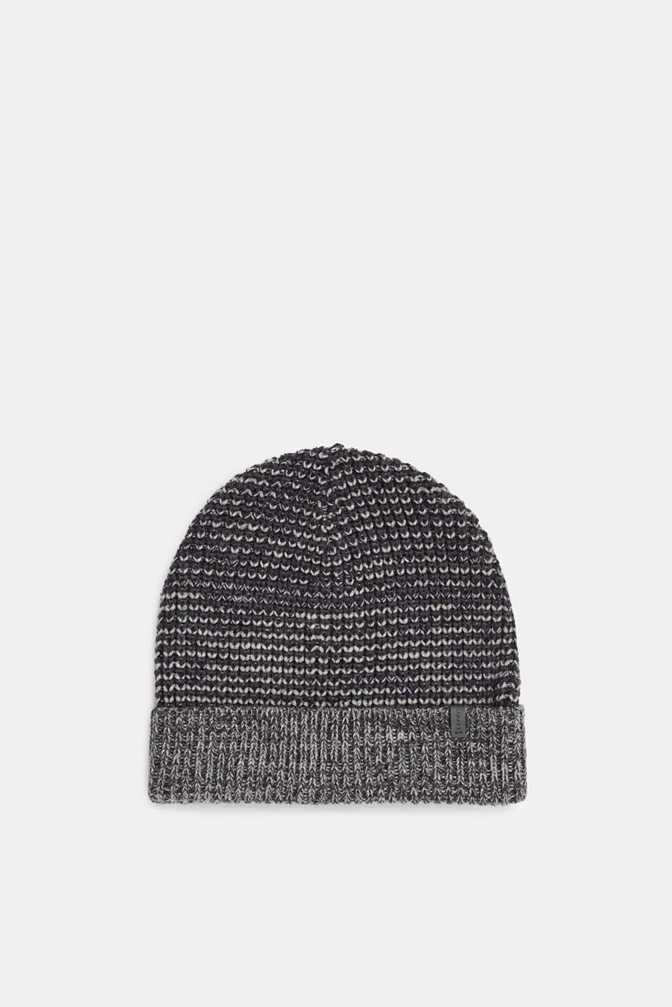Textured knit beanie, DARK GREY, detail image number 0
