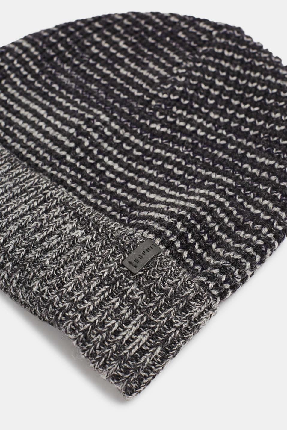 Textured knit beanie, DARK GREY, detail image number 1