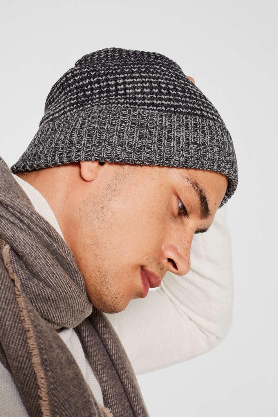 Textured knit beanie, DARK GREY, detail image number 2