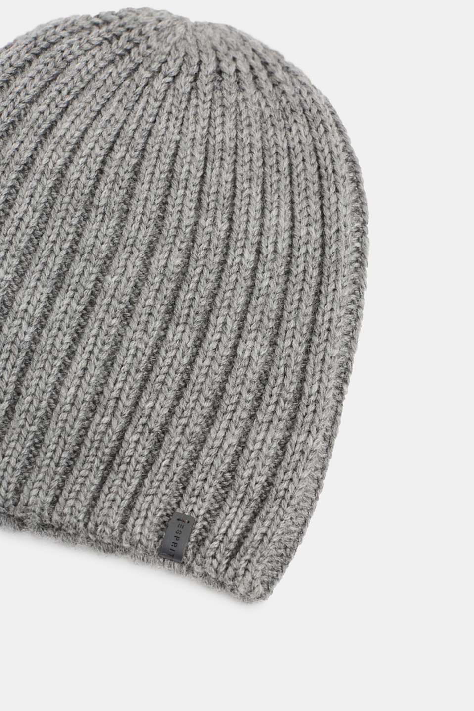 Containing wool: cap with a ribbed pattern, MEDIUM GREY, detail image number 1