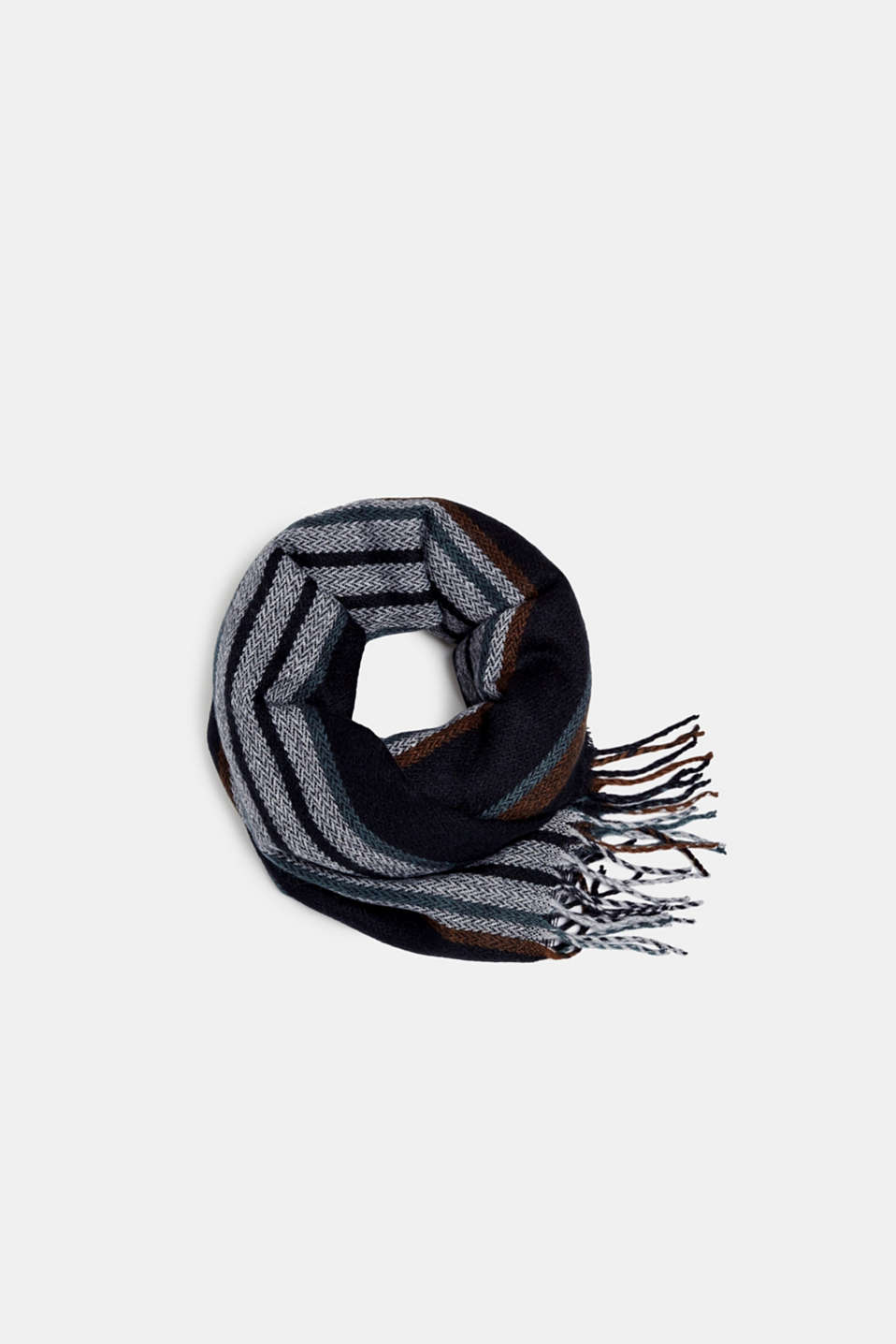 Scarf with stripes, BROWN, detail image number 0