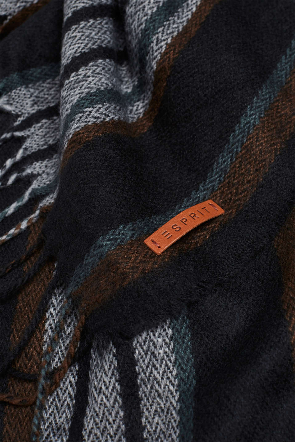 Scarf with stripes, BROWN, detail image number 2