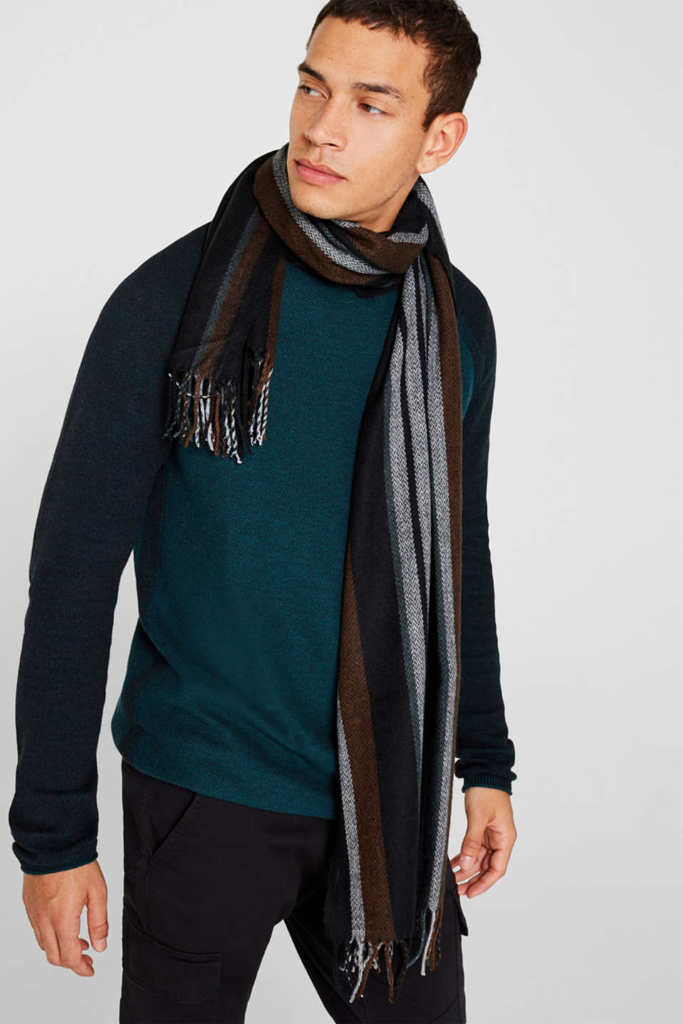 Scarf with stripes, BROWN, detail image number 1