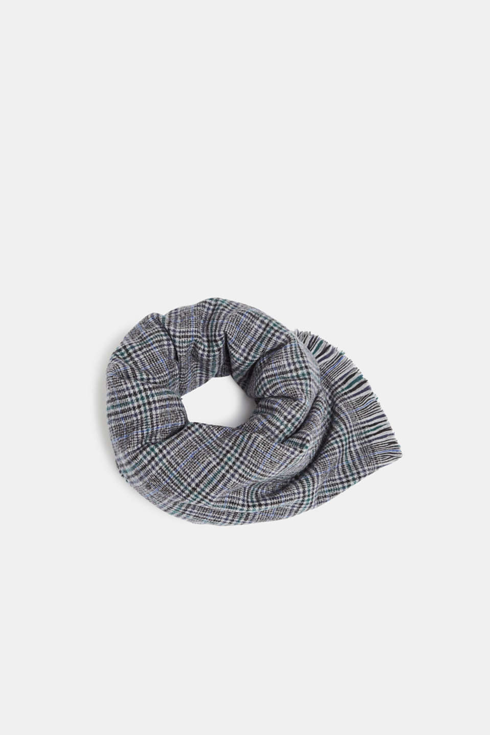Prince of Wales check scarf with fringing, MEDIUM GREY, detail image number 0
