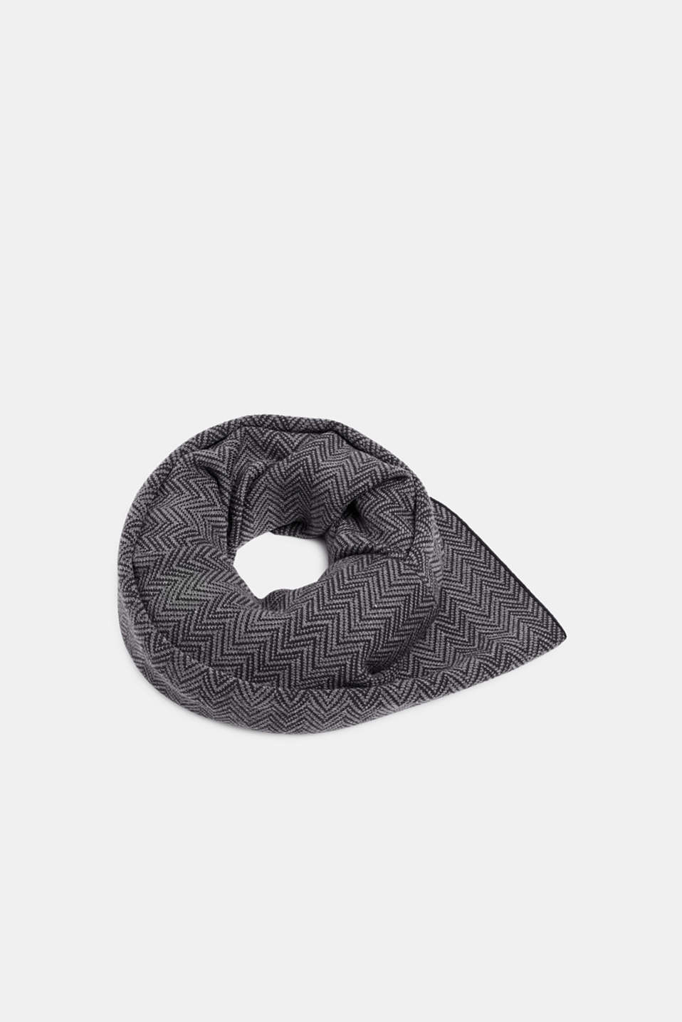 Scarf with a herringbone pattern, GREY, detail image number 0