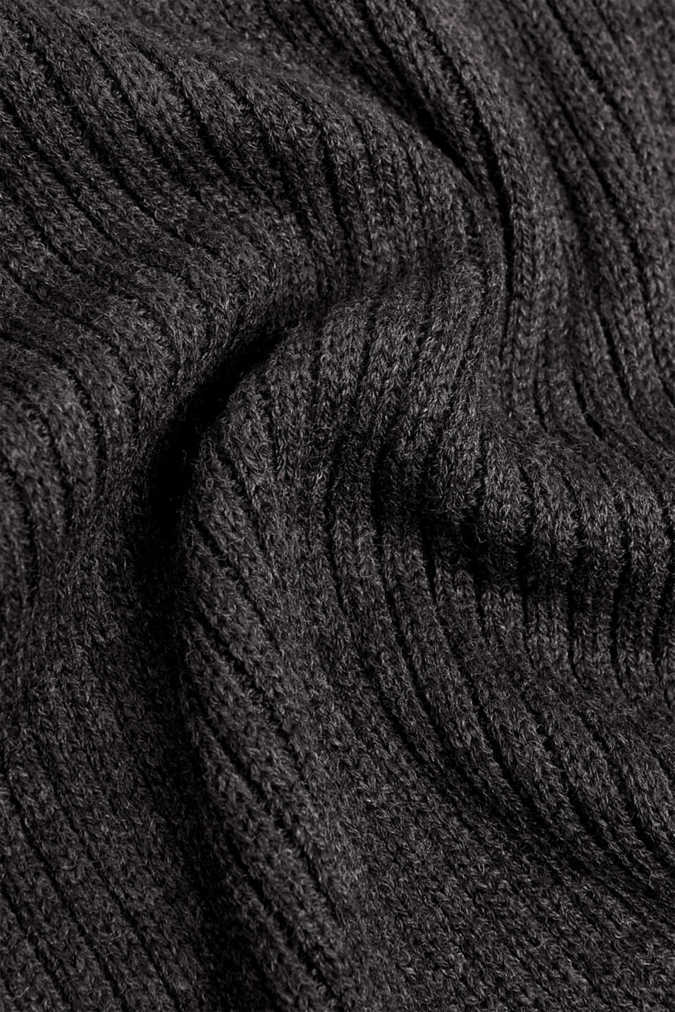 Rib knit scarf, DARK GREY, detail image number 2