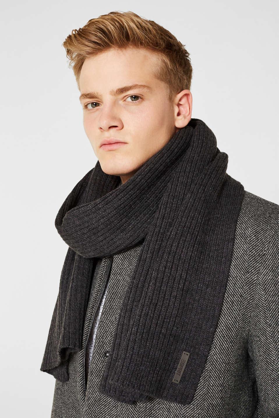 Rib knit scarf, DARK GREY, detail image number 1