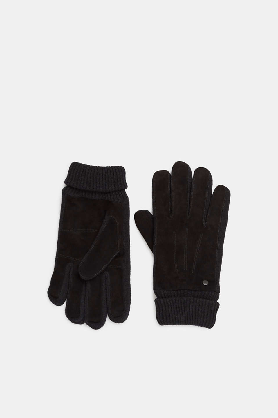 Gloves with leather, BLACK, detail image number 0