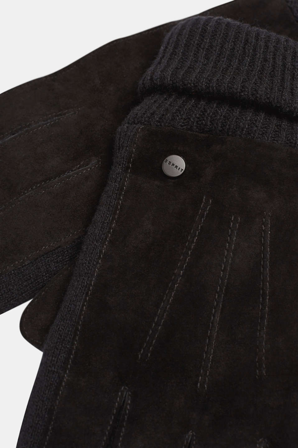 Gloves with leather, BLACK, detail image number 1