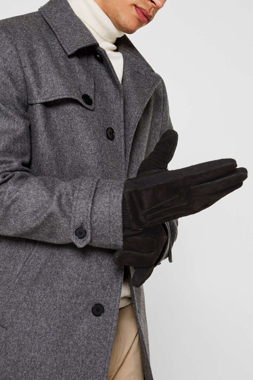 Gloves with leather, BLACK, detail image number 2