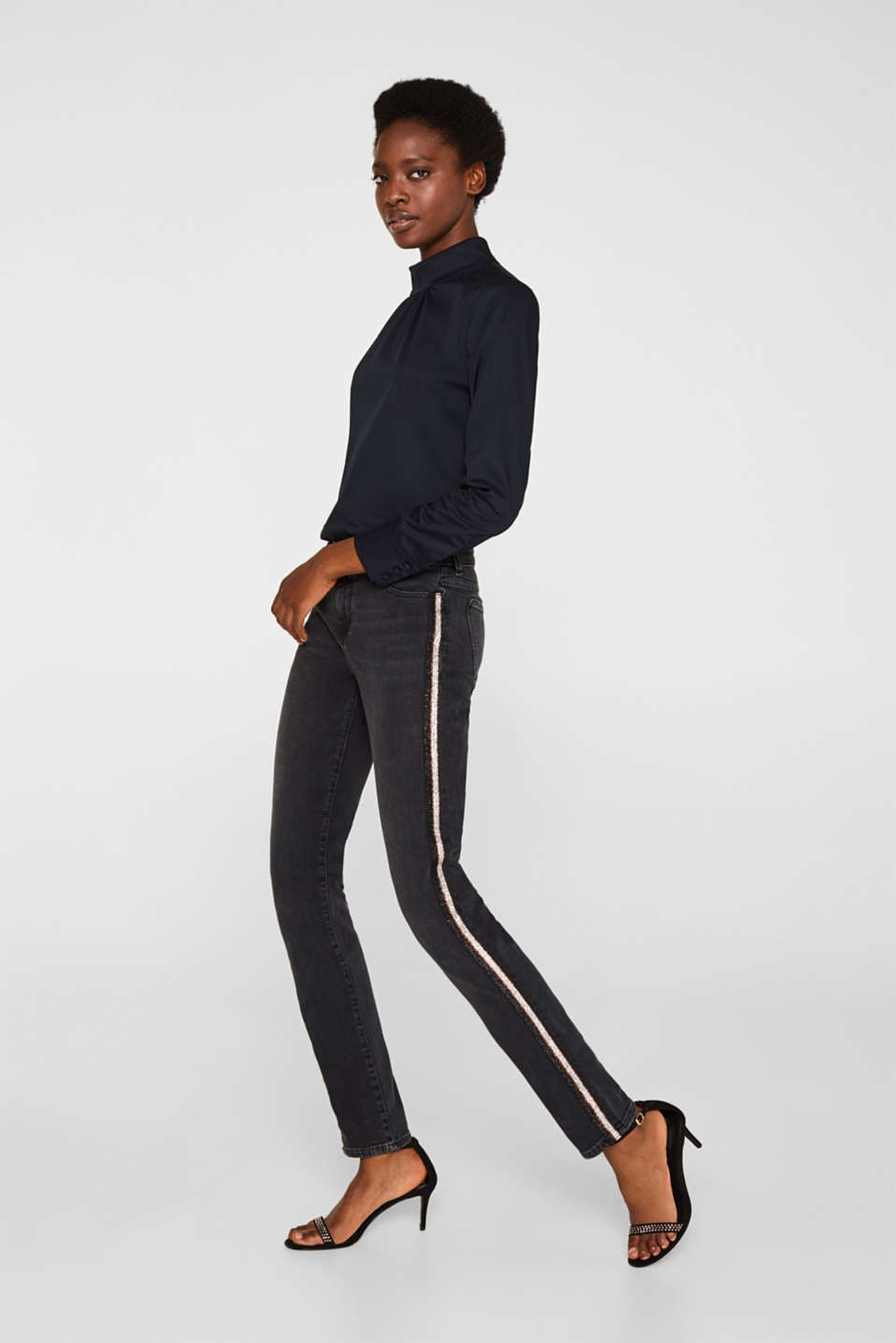 Pants denim, BLACK DARK WASH, detail image number 0
