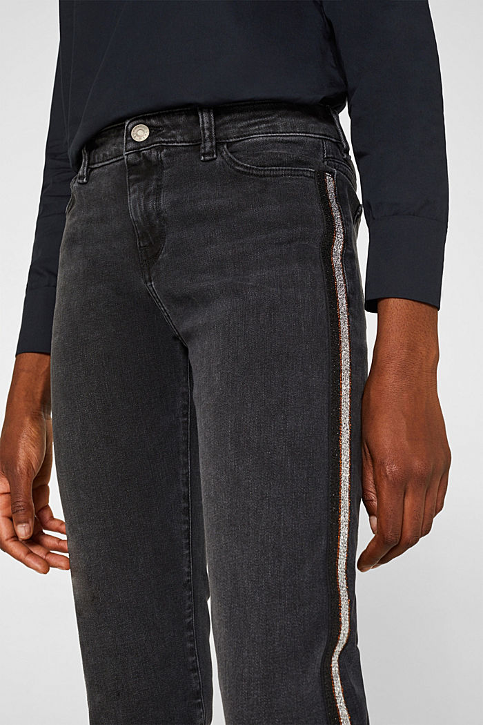 Stretch jeans with glittering stripes, BLACK DARK WASHED, detail image number 2