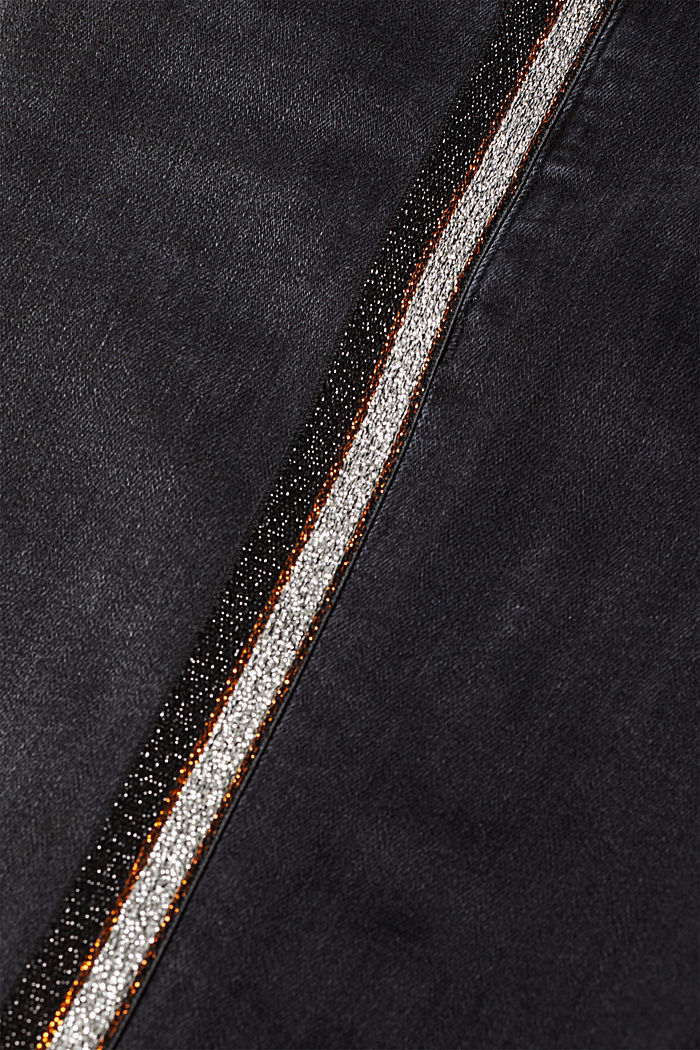 Stretch jeans with glittering stripes, BLACK DARK WASHED, detail image number 4