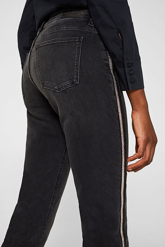Stretch jeans with glittering stripes, BLACK DARK WASHED, detail image number 5