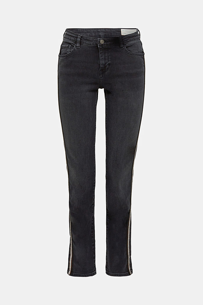 Stretch jeans with glittering stripes