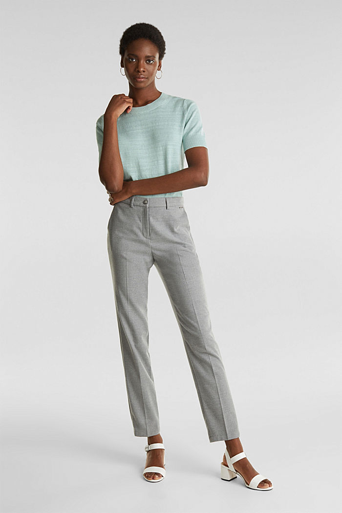 Ankle-length trousers made of flannel, LIGHT GREY, detail image number 0
