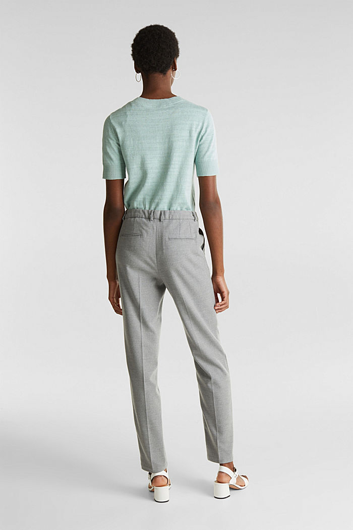 Ankle-length trousers made of flannel, LIGHT GREY, detail image number 3