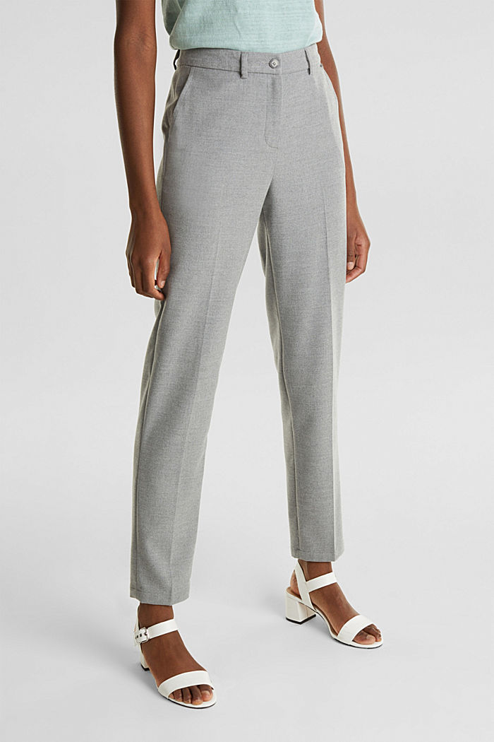 Ankle-length trousers made of flannel, LIGHT GREY, detail image number 6