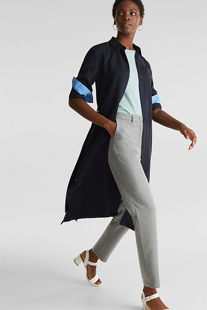 Ankle-length trousers made of flannel, LIGHT GREY, detail image number 1