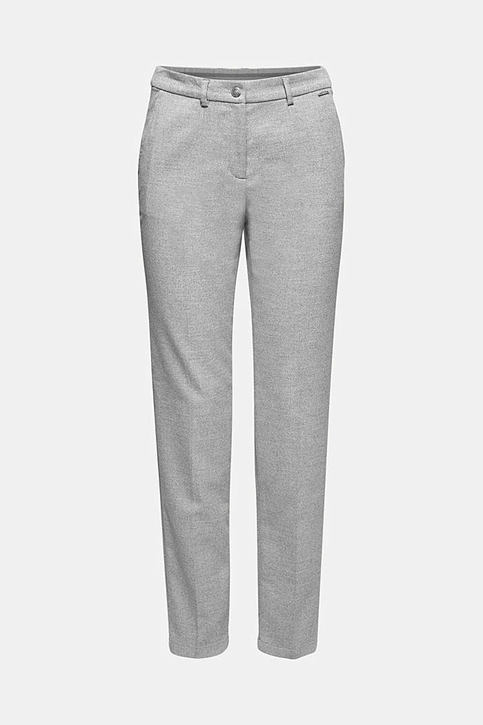Ankle-length trousers made of flannel, LIGHT GREY, detail image number 7